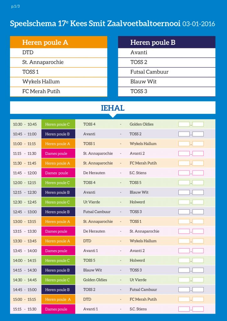 Speelschema TOSS toernooi 2016